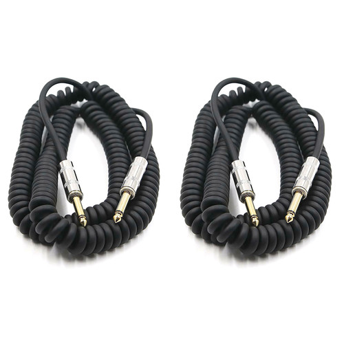 ZoZo 20ft Coiled Guitar Cable 2 PACK -Guitar Bass & Instrument Cable, ZZ306-2PK