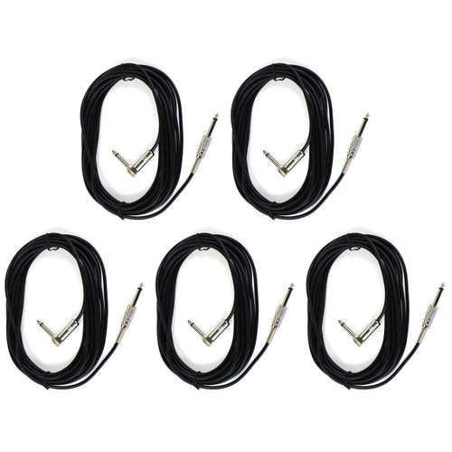 Perfektion PM203 Black 20FT Guitar, Bass, & Instrument Cable - 5 PACK
