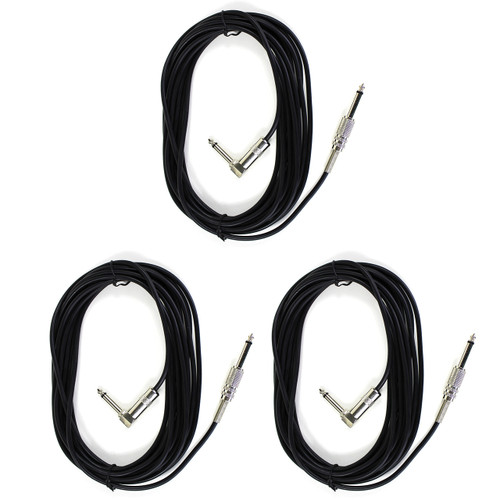ZoZo 20ft Guitar Cable 3 PACK - 20ft Guitar, Bass, Instrument Cable, ZZ203-3PK