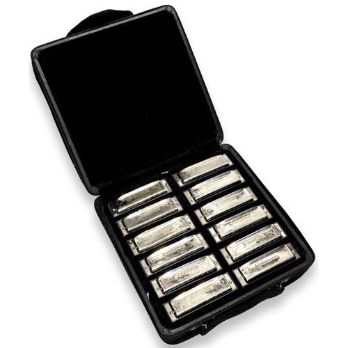 Johnson BK-520-SET Full 12-Key Blues King Harmonica Set - 12 Harp Set & Case