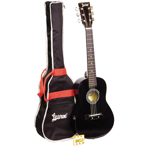 "Lauren LAPKMBK 30"" Inch Student Acoustic Guitar Pack, Metallic Black"