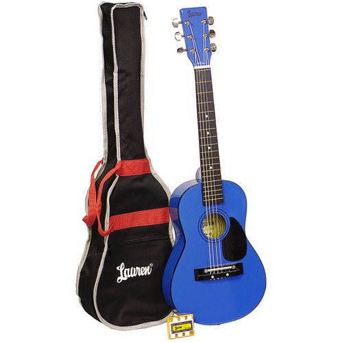 "Lauren LAPKMBL 30"" Inch Student Acoustic Guitar Pack, Metallic Blue"