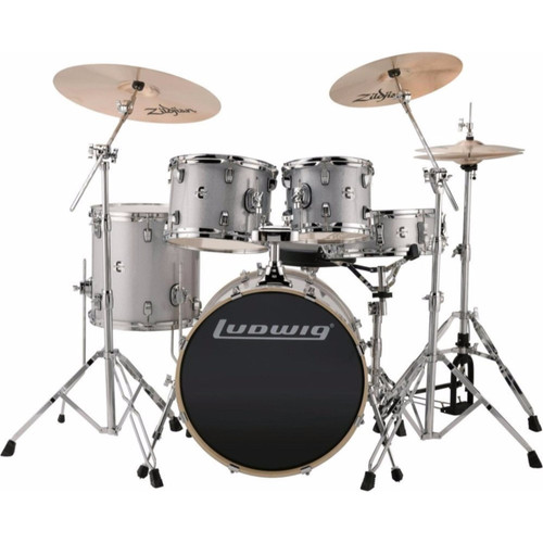 """Ludwig LCEE20028 Element Evolution 5-Piece Drum Set with Zildjian Cymbals, Silver/White Sparkle, 20"""" BD"""