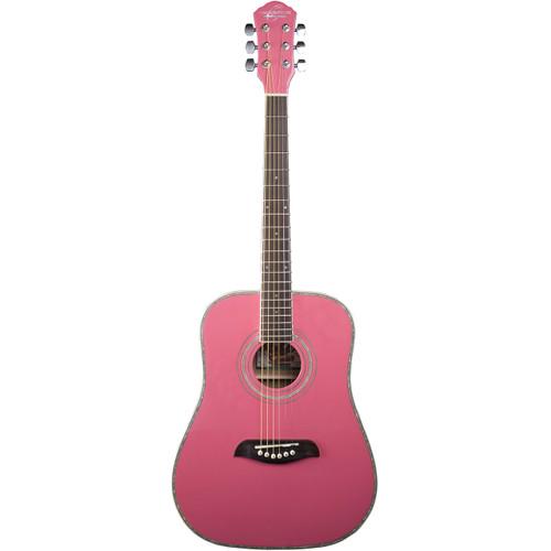 Oscar Schmidt OG1 Student 3/4 Size Dreadnought Acoustic Guitar, Pink (OG1P)