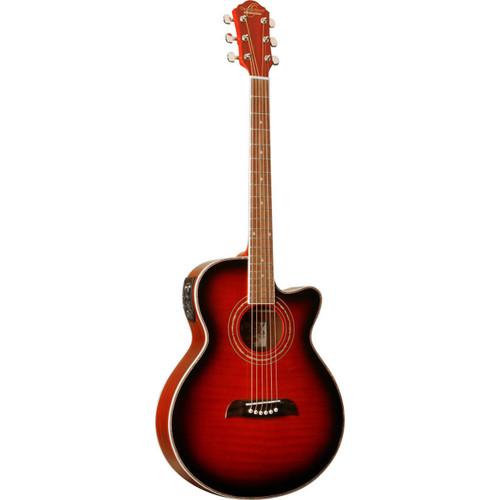 Oscar Schmidt OG10CE Concert Size Acoustic Electric Guitar, Flame Transparent Red