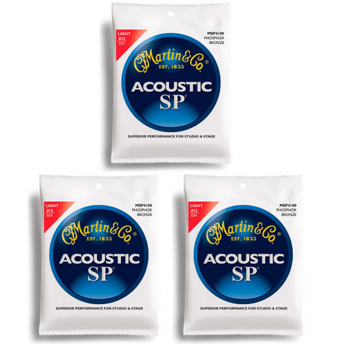 Martin MSP4100 Phosphor Bronze Acoustic Guitar Strings, Light - 3 PACK