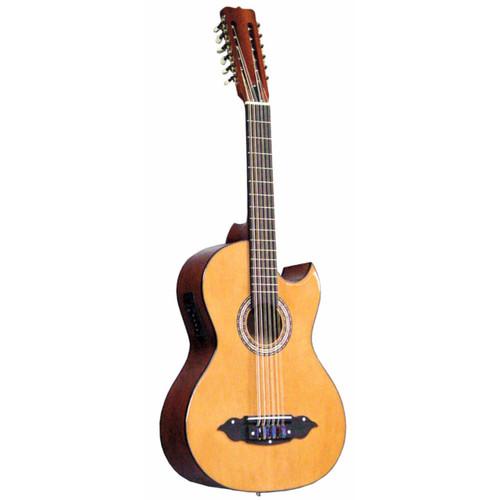 Lucida LG-BS1-E Mariachi 12-String Bajo Sexto Acoustic Electric Guitar, Natural