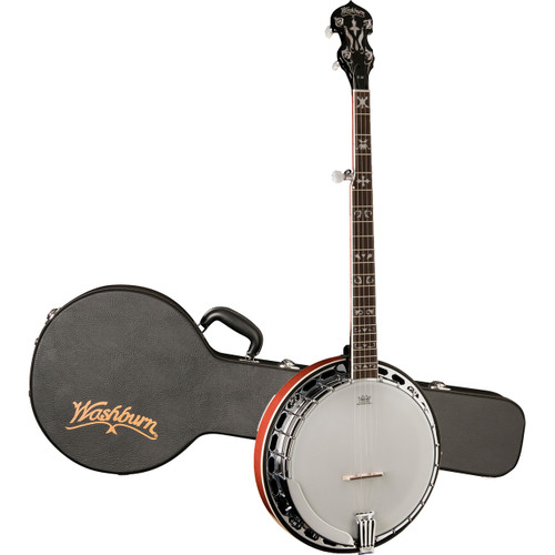 Washburn B16K Americana Flame Maple 5-String Resonator Banjo with Hardshell Case, Sunburst