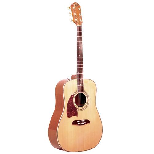Oscar Shmidt OG2NLH Left-Handed Dreadnought Acoustic Guitar, Natural (OG2NLH)