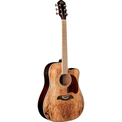 Oscar Schmidt OG2CEMFSM Spalted Maple Acoustic Electric Guitar, Maple Fretboard