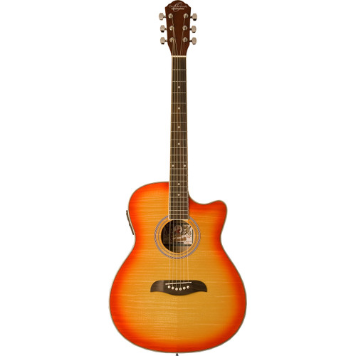 Oscar Schmidt OACEFCS Auditorium Acoustic Electric Guitar, Cherry Sunburst (OACEFCS)