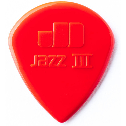 Dunlop 47P3N Nylon Jazz III Guitar Picks, Red 6 Pack