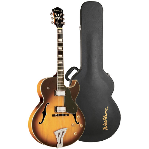 Washburn J3TSK Jazz Hollowbody Electric Guitar with Case, Tobacco Sunburst
