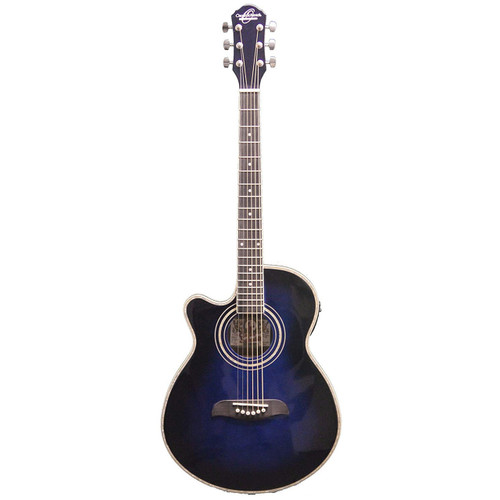 Oscar Schmidt OG10CEFTBLLH Left-Handed Concert Acoustic Electric Guitar, Transparent Blue