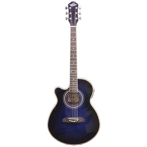 Oscar Schmidt OG10CEFTBLLH Left-Handed Concert Acoustic Electric Guitar, Transparent Blue