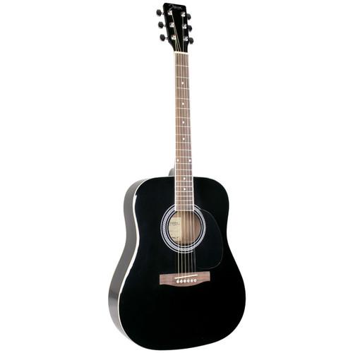 Johnson JG-620-B Player Series Dreadnought Acoustic Guitar, Black
