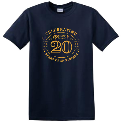 Martin 40MSP0097L SP Strings 20th Anniversary T-Shirt, Size Large - Navy
