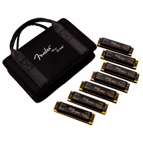 Fender Blues DeVille 10-Hole Diatonic Harmonica 7-Pack with Case, Key of C, G, A, D, F, E, Bb (099-0702-049)