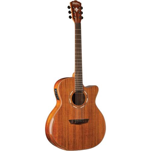 Washburn WCG55CE Comfort Series All Koa Grand Auditorium Acoustic Electric Guitar