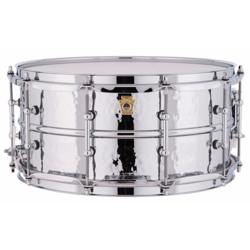 """Ludwig LM402KT Supraphonic 6.5""""x14"""" Hammered Aluminum Shell Snare Drum w/ Tube Lugs"""