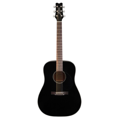 Jasmine JD39-BLK Dreadnought Acoustic Guitar with Deluxe Hardshell Case, Black