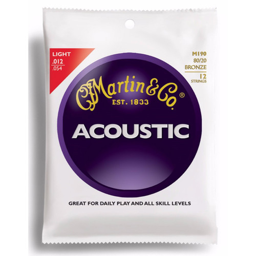 Martin M190 Traditional 80/20 Bronze 12-String Acoustic Guitar Strings, Light