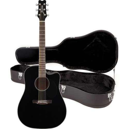 Jasmine JD39CE-BLK Dreadnought Cutaway Acoustic Electric Guitar with Case, Black