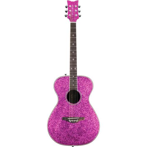 Daisy Rock DR6205 Pixie Sparkle Acoustic Guitar, Pink Sparkle