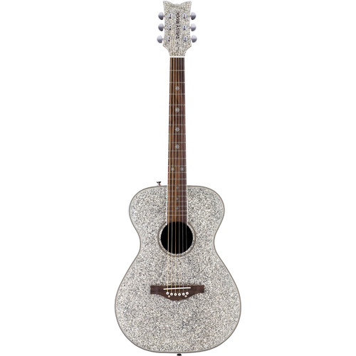 Daisy Rock DR6206 Pixie Sparkle Acoustic Guitar, Silver Sparkle