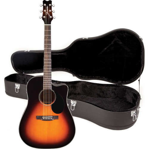Jasmine JD39CE-SB Dreadnought Cutaway Acoustic Electric Guitar with Case, Sunburst
