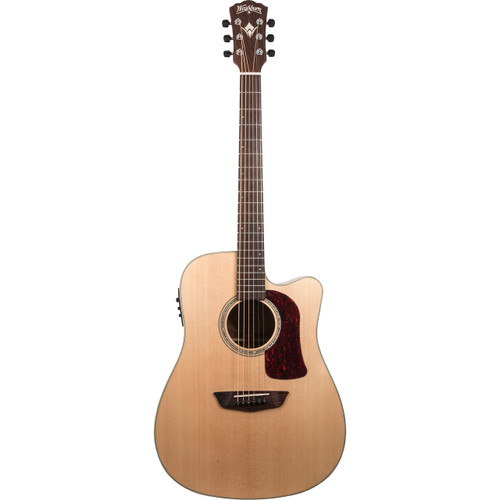 Washburn HD100SWCEK Heritage All Solid Dreadnought Acoustic Electric Guitar with Case, Natural (HD100SWCEK)