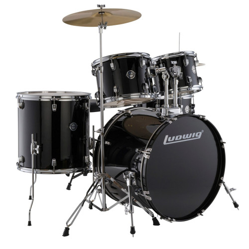 Ludwig LC17511 Accent Drive Complete Full Size 5-Piece Drum Set, Black