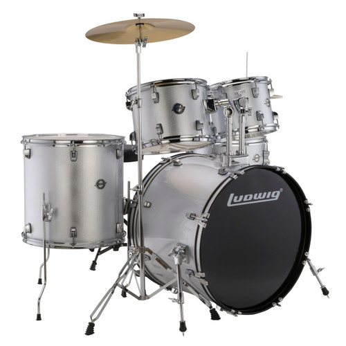 Ludwig LC17515 Accent Drive Complete Full Size 5-Piece Drum Set, Silver Foil