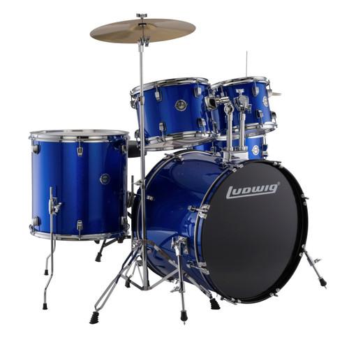 Ludwig LC17519 Accent Drive Complete Full Size 5-Piece Drum Set, Blue Foil