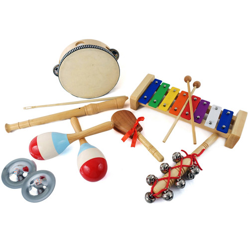 GP Percussion GPBXPB 7-Piece Beginner Educational Percussion Pack for Kids