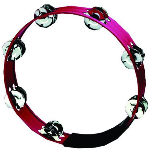 "GP Percussion MT103RD Professional 10"" Double Row Tambourine, Red"