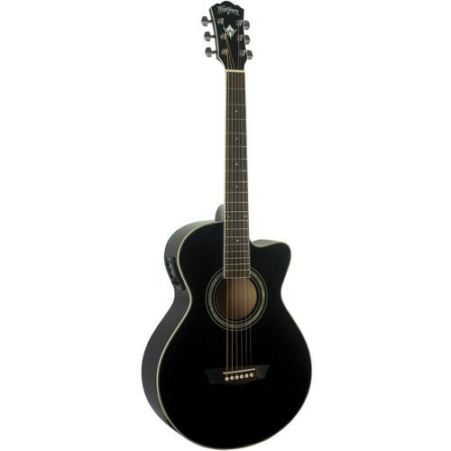 Washburn EA10B Festival Series Petite Jumbo Acoustic Electric Guitar, Black (EA10B)