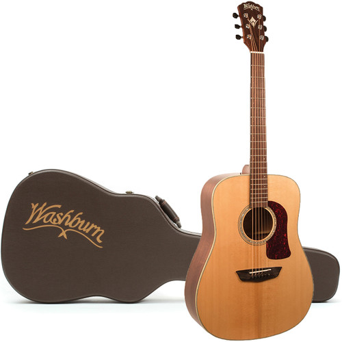 Washburn HD100SWEK Heritage All Solid Dreadnought Acoustic Electric Guitar w/ Case