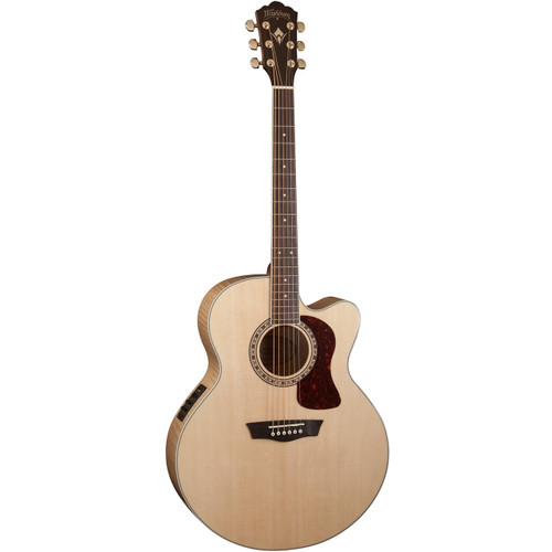 Washburn HJ40SCE Flame Maple Jumbo Cutaway Acoustic Electric Guitar, Natural