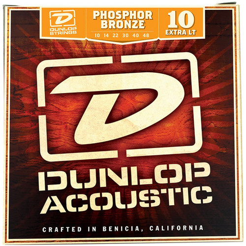 Dunlop DAP1048 Phosphor Bronze Acoustic Guitar Strings, Extra Light 10-48