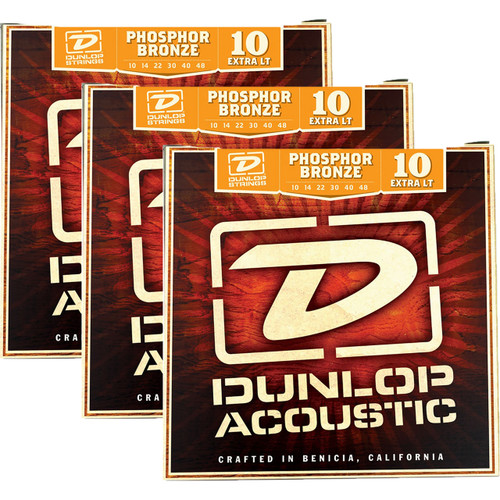 Dunlop DAP1048 Phosphor Bronze Acoustic Guitar Strings, Extra Light, 3-Pack