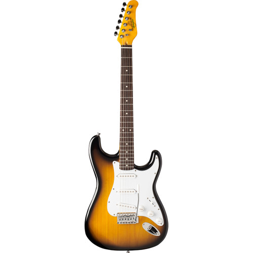 Oscar Schmidt OS-300-TS Double Cutaway Solid-Body Electric Guitar, Tobacco Sunburst