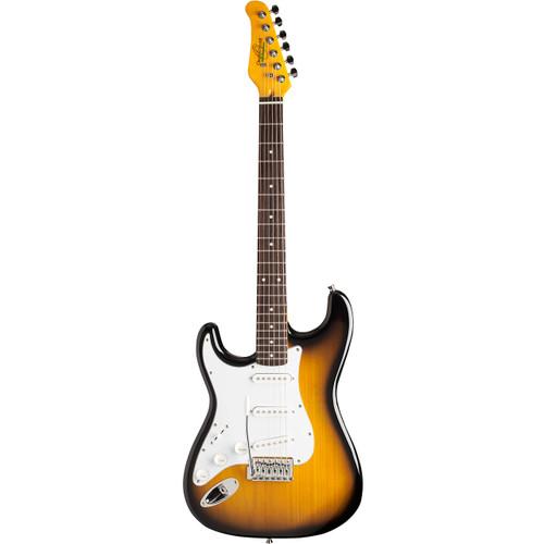 Oscar Schmidt OS-300-TS-LH Double Cutaway Left-Handed Electric Guitar, Tobacco Sunburst