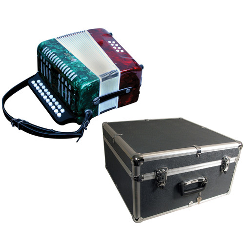 Mirage B6108GTC 2-Row Button Key Diatonic Accordion with Hard Case, Mexican Flag  Finish