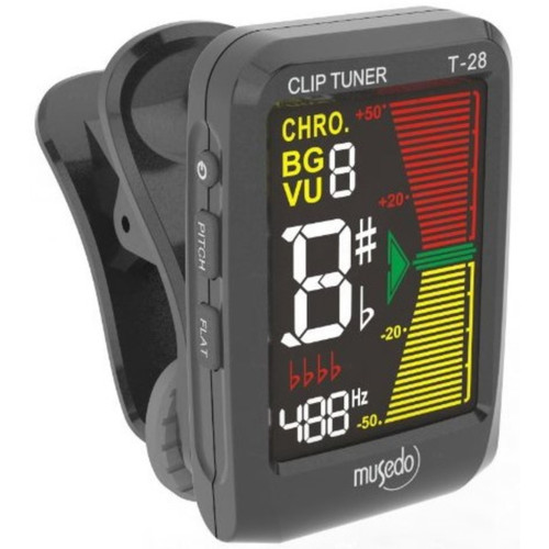 Musedo MUS-T-28BK Color LCD Clip-on Chromatic Instrument Tuner, Black