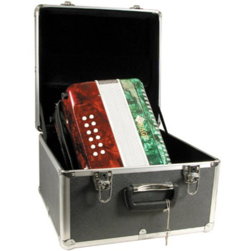 Mirage B6112GTC Diatonic Button Key Accordion with Hard Case, Mexican Flag