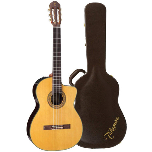 Takamine TC132SC Nylon String Classical Acoustic Electric Guitar with Case, Natural