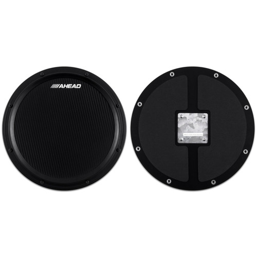 "Ahead AHSHPB 14"" Black Carbon S-Hoop Marching Drum Practice Pad with Snare Sound"