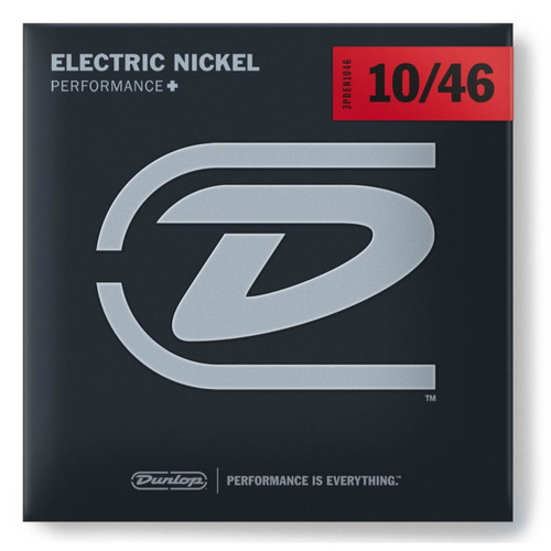 Dunlop 3PDEN1046 Nickel Plated Steel Electric Guitar Strings -Medium Gauge 10-46, 3-Pack
