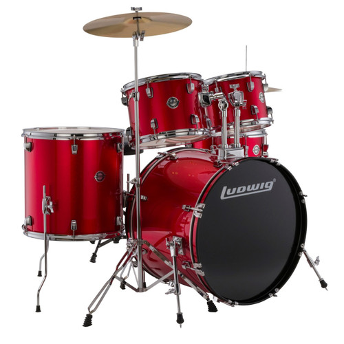 Ludwig LC17014 Accent Fuse 5-Piece Complete Drum Set, Red Foil